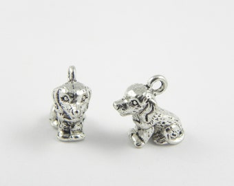 10 Dog Charms - 13mm x 14mm - Antiqued Silver - 3D - Double Sided