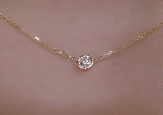 Mothers day gift diamond solitaire necklace 14k yellow gold like this item mozeypictures Image collections