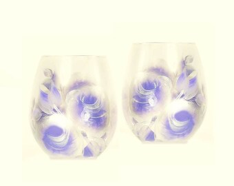 Set of 4 Hand Painted StemLESS Wine Glasses - Elegant Periwinkle Blue and Silver Roses - Powder Blue Winter Wedding 25th Wedding Anniversary