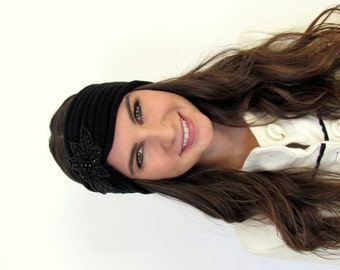 Black Knitted Headband Bohemian Ruched Ear Warmer Crystal Beaded Headband Jeweled Headband Women's Fashion Hair Accessories Gifts for Her