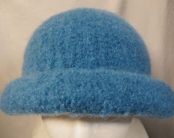 Hat Wool Felted Whirlpool Blue with Rolled Brim
