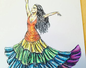 Rainbow Gypsy Dance, An A4 Pen and Ink Illustrative Study