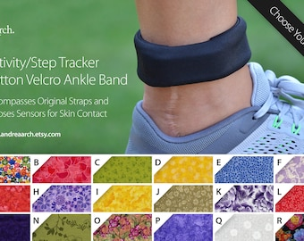 Floral Print Activity/Step Tracker 100% Cotton Ankle Band – Encompasses Original Straps and Exposes Sensors for Skin Contact