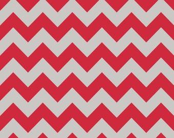 Fabric by the Yard -- Medium Red and Gray Chevron by Riley Blake - 1 yard
