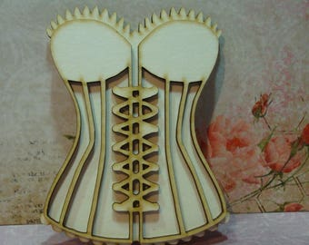 strapless corset 60 clear wooden