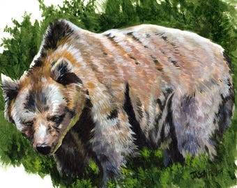 Bear Painting / Grizzly Bear / Bear Art / Acrylic Print / Acrylic Painting / boyfriend gift / coworker gift / best friend gift / Grizzly
