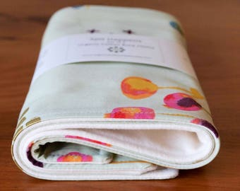 Sage Green Burp Cloth Gift for Baby Girl; Modern Floral, Organic Cotton Baby Burping Pads; Pretty, Handmade, Soft Flannel Burp Cloths; Poem