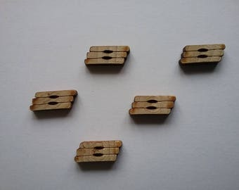 5 buttons 2 holes 14x6mm logs trapeze wood n15