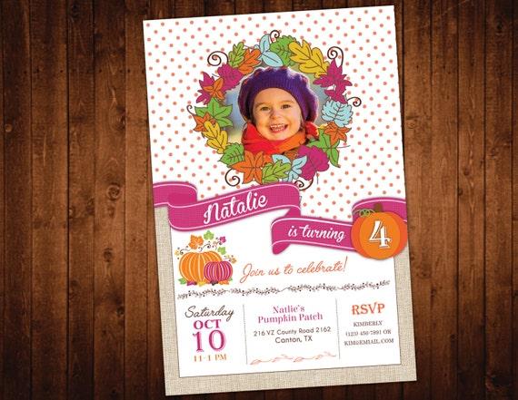 Fall Pumpkin Birthday Invitation // Fall Birthday Party // First Birthday Invite // Halloween Birthday