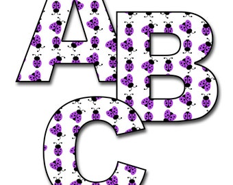 LADYBUG LETTER DECAL Purple Girl Room Personalize Name Wall Art Nursery Abc Stickers Decor