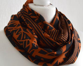 Orange Black Recycled Silk Sari Scarf  Indian Silk Infinity Scarf  Pure Silk Eternity Scarf  Handmade Scarf  Silk Scarf- CMCISP0288