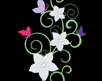 FANCY FLOWERS #10- 1 Machine Embroidery Design Instant Download 4x4 5x7 6x10 hoop (AzEB)
