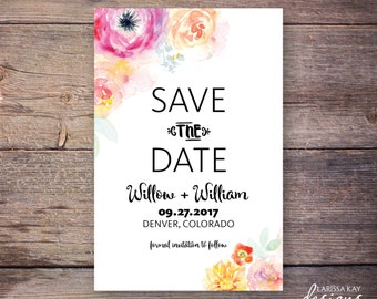 Save the Date, Floral Save the Date Invitation, Flowers, Printable, Digital File – Willow