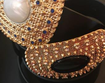 Big buckle leather belt  , EVAROJE belts , the white pearl & the black pearl