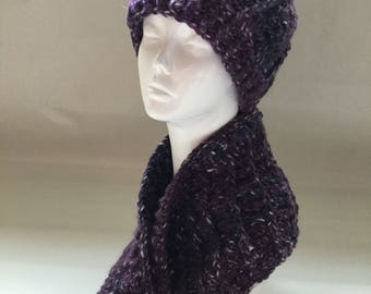 Beautiful, Soft, Hand-Crocheted Hat and Matching Cowl in Purple and Indigo