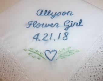 Blumen-Mädchen-Geschenk, Hochzeit Taschentuch, von Hand, etwas blaues, damit verbundenen Geschenk, junior brautjungferngeschenk, Hochzeitsgeschenk, rustikal, Herz-Entwurf