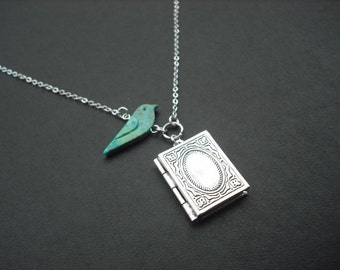 genuine turquoise bird and antique silver book locket necklace