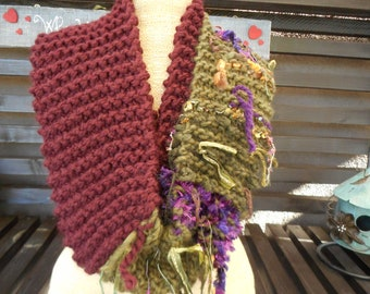 Hand Knit Cowl          Hand Knitted Coal