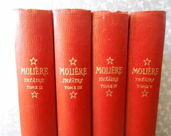 Rare French set of 4 books gathering Molière works, French literature, published in 1949. Theater books, French classic works of literature.