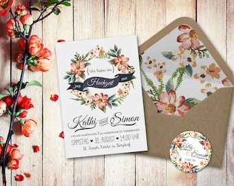 Invitation cards wedding set watercolor A5