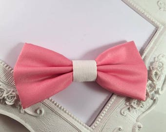 Coral pink and ivory Butterfly bow brooch