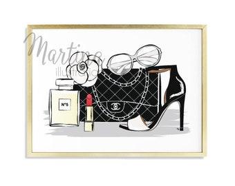 Chanel bag illustration Accessories High Heels Handbag Perfume High Fashion Print gift for girlfriend