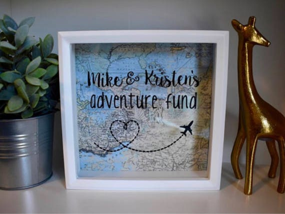 Personalized Adventure Fund World Map Blue Engagement Gift