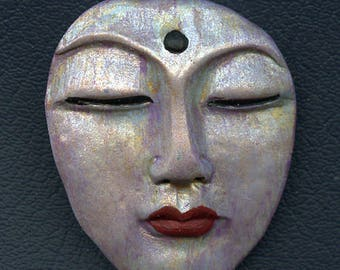 "Polymer  OOAK  Large Abstract  Detailed  Buddha Face Cab 2"" x  1 5/8 "" ABB 1"