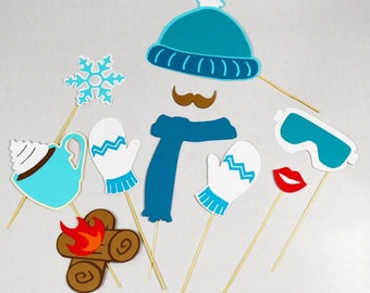 Winter photo booth props * 10 piece* cold scarf props, hat hoodie prop, hot chocolate photo booth prop on a stick