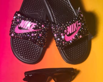 Customized pink nike benassi slides sz 7