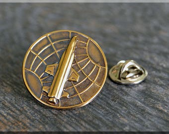 Brass Space Program Tie Tac, Lapel Pin, Brooch, Gift for Him, Gift Under 10 Dollars, Space Shuttle Tie Tack, Space Exploration Unisex Pin