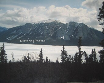 Skagway, Alaska, Fine Art Photograph, Mountain Photography, Mountain Range Print, Nature Photography, Snow, Ice, 8x10, Glitter, OOAK