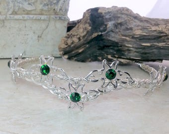Flower of Rohan Crystal Crown Tiara Eowyn Celtic Weave Circlet Elven Headdress Emerald Green or Custom Colors