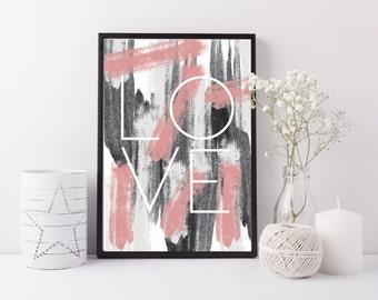 love typography art print - blush pink print - grey black love print - love print - Modern bedroom wall art - Valentines gift - scandi