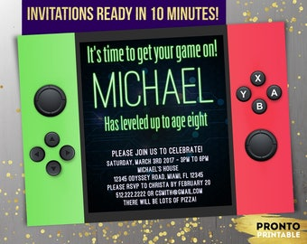 Video game party invitations, video game invitation instant download, video game invite, video game party invites, switch party invitations
