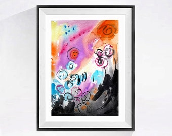 Original Abstract Watercolor Painting Fine Art Modern Pop art with Bright colors Painting pink artwork