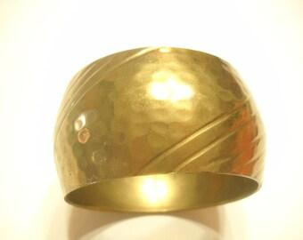 Vintage Brass WIDE BANGLE BRACELET (5007)