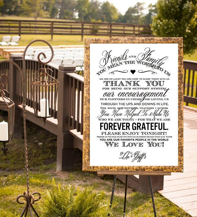 wedding thank you sign wedding sign reception sign. Black Bedroom Furniture Sets. Home Design Ideas
