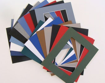 "Lot of 12 Mats for 8 x 10"" Frames, Matboards with Openings of 4 7/8"" x 6 7/8"" Variety of Colors, Archival Quality Acid & Lignin Free"