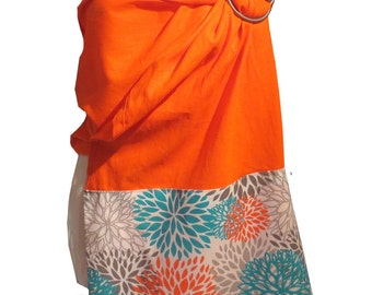 Ring sling blossom, Linen orange with punch pattern fabric, Ring sling for baby, Sling in linen, baby carrier, baby wrap