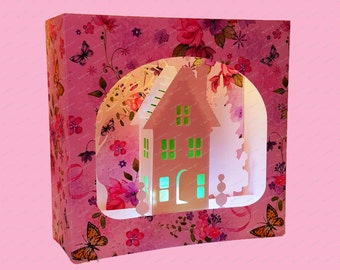 Country Cottage 3D  Greetings box card