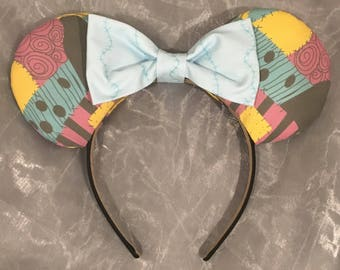 Sally from Nightmare Before Christmas Inspired Minnie Ears! Handmade Sewn & Stuffed- Fits Child to Adult