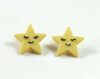 Star earrings, Star studs, Happy star earrings, Yellow star studs