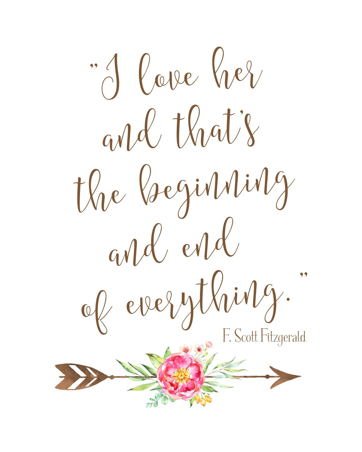 Love Quote Printable | Boho Chic Wedding Sign | Instant Download | F Scott  Fitzgerald Print | Great Gatsby Wedding | DIY Printable