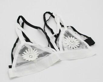 White Floral bra, lace Sheer Bralettes, Lace bralette, lacy Triangle Bra, Bras,  bralette femme,womens underwear