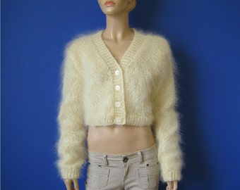 Made to order ! Hand knitted mohair bolero shrug sweater cardigan S M L