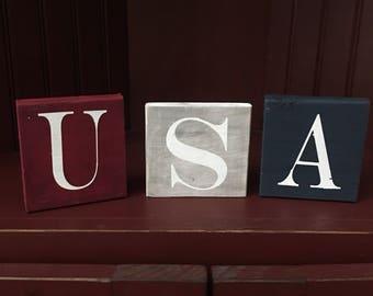 USA wooden painted decorative blocks
