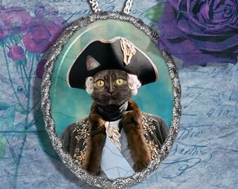 Tortoiseshell Cat Jewelry Pendant Necklace - Brooch Handcrafted Ceramic