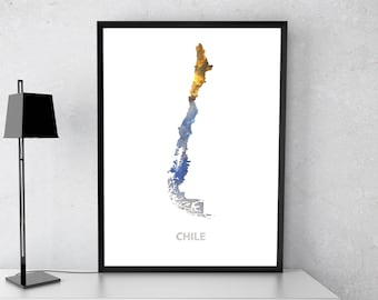 Chile poster, Chile art, Chile map, Chile print, Gift print, Poster