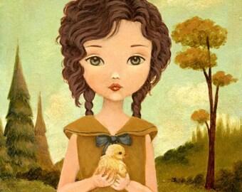 Children's Art - Little Peep Print 5x7 / 6x8 - Baby Chick, Nursery Art, Forest, Girl, Mustard, Mint, Cute, Farm Animal, Spring, Easter